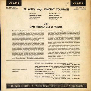 Lee Wiley Sings Vincent Youmans Back Cover