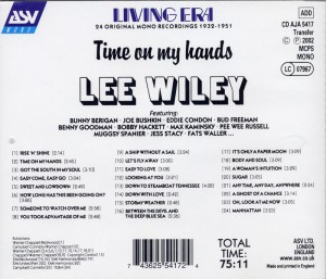 Lee Wiley Time On My Hands CD Back Cover