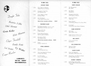 Liberty Music Shop Flyer Offering Label's Recordings September 1939 Page 1