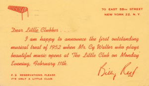 The Little Club 02.11.1952 Postcard Announcement Back
