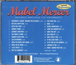 Mabel Mercer Previously Unreleased Live Performances Harbinger CD Back Cover