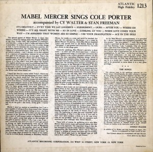 Mabel Mercer Sings Cole Porter LP Back Cover