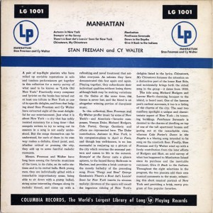 Manhattan 10 Inch LP Back Cover