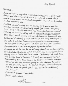Mike Biggs' Letter To Mark Walter On Cy's Music 07.28.2006