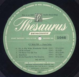 NBC Thesaurus Transcription Disc No. 1046 Circa 1942