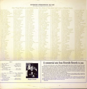 Ralph Strain's Only These People Back Can Buy This Album LP Back Cover