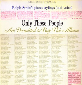 Ralph Strain's Only These People Back Can Buy This Album LP Cover