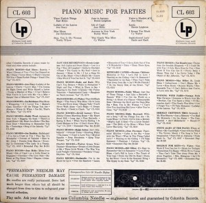 Piano Music For Parties LP Back Cover