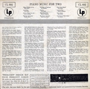 Piano Music For Two LP Back Cover
