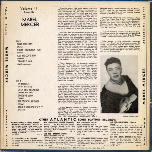 Songs By Mabel Mercer Vol. II Back Cover