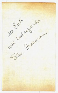 Stan Freeman's Autograph