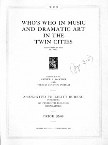 Who's Who In Music And Dramatic Art In The Twin Cities 1925 Title Page
