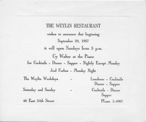 The Weylin Restaurant 09.27.1957
