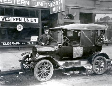 Western Union Telegraph Office, Messenger, And Delivery Vehicle Circa 1910